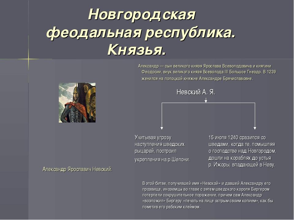 Новгородская феодальная республика. Князья. Александр — сын великого князя Я...