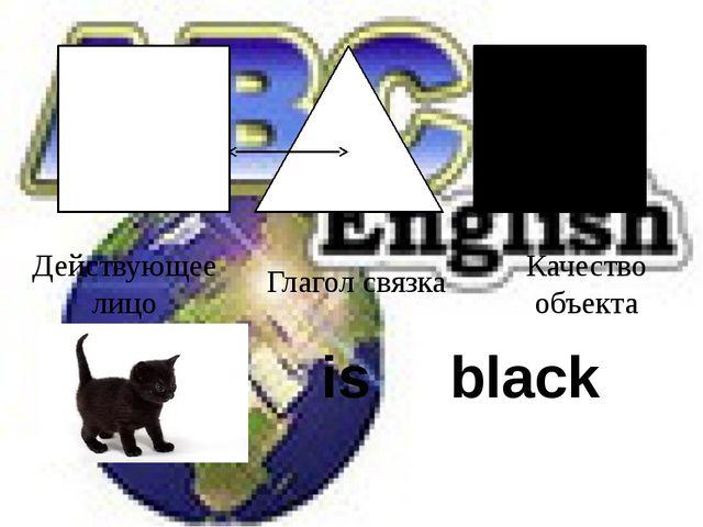 Действующее лицо Глагол связка Качество объекта is black