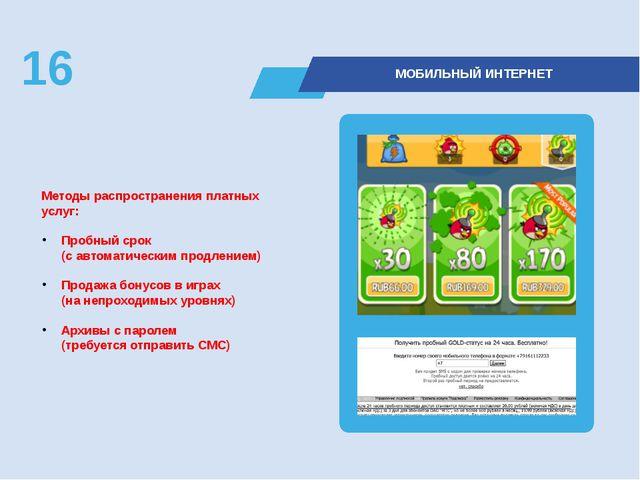 Методы распространения платных услуг: Пробный срок (с автоматическим продлен...