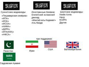 Суннитские моджахеды: «Пешаварская семёрка» «ИПА» «ИОА» «ИСОА» «НИФА» «ДИРА»