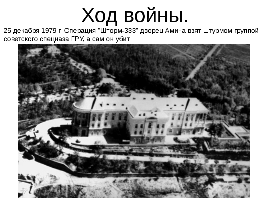 "Ход войны. 25 декабря 1979 г. Операция ""Шторм-333"".дворец Амина взят штурмом..."