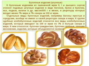 Булочные изделия (штучные) К булочным изделиям из пшеничной муки II, I и высш