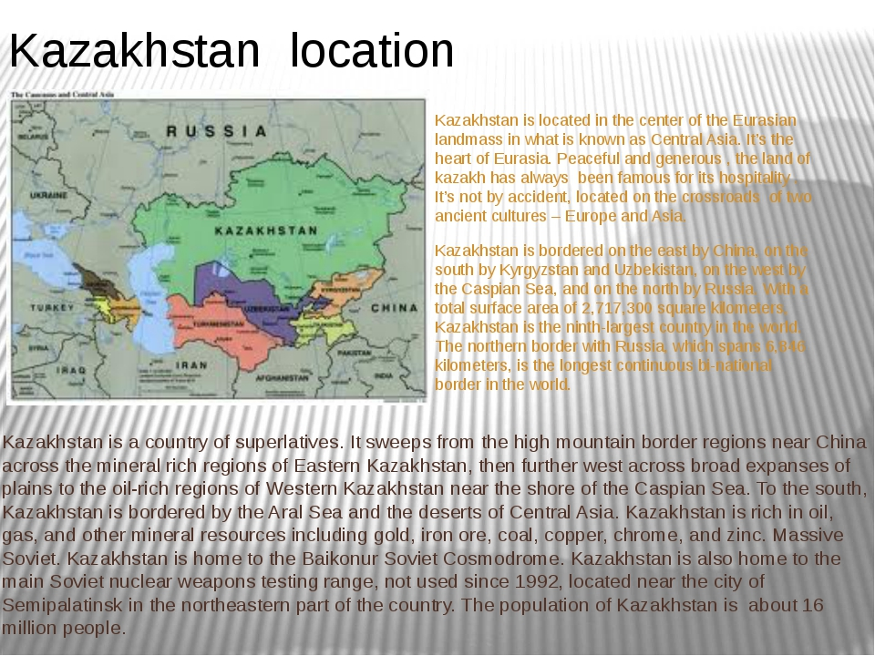 Kazakhstan is located in the center of the Eurasian landmass in what is known...