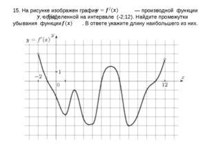 15. На рисунке изображен график  — производной функции  , определенной на