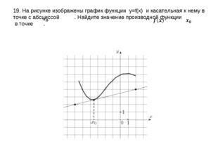 19. На рисунке изображены график функции y=f(x) и касательная к нему в точке