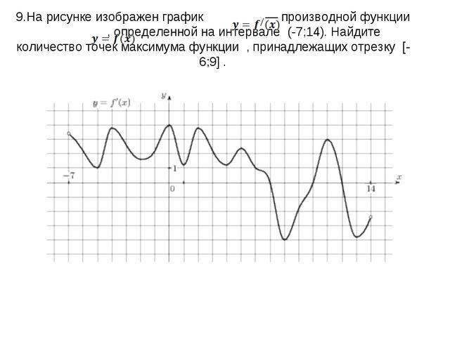 9.На рисунке изображен график   — производной функции  , определенной на...