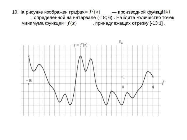 10.На рисунке изображен график   — производной функции  , определенной на...