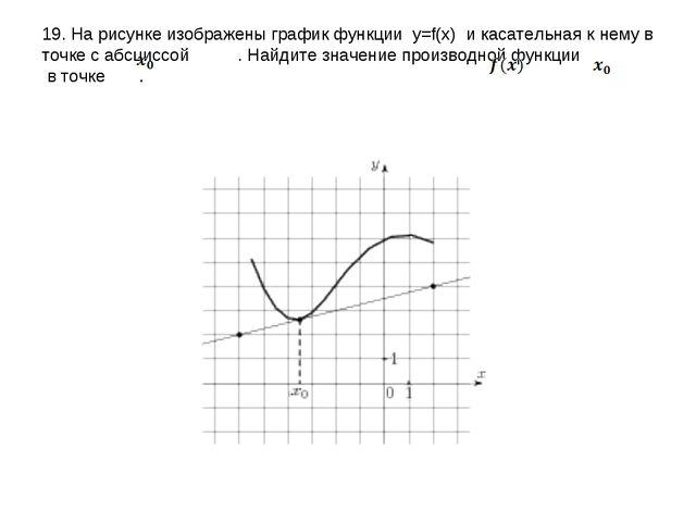 19. На рисунке изображены график функции y=f(x) и касательная к нему в точке...