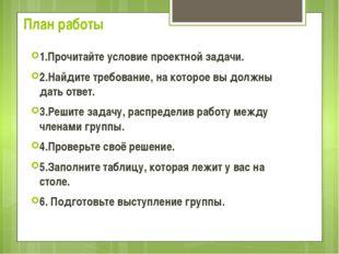 План работы 1.Прочитайте условие проектной задачи. 2.Найдите требование, на к
