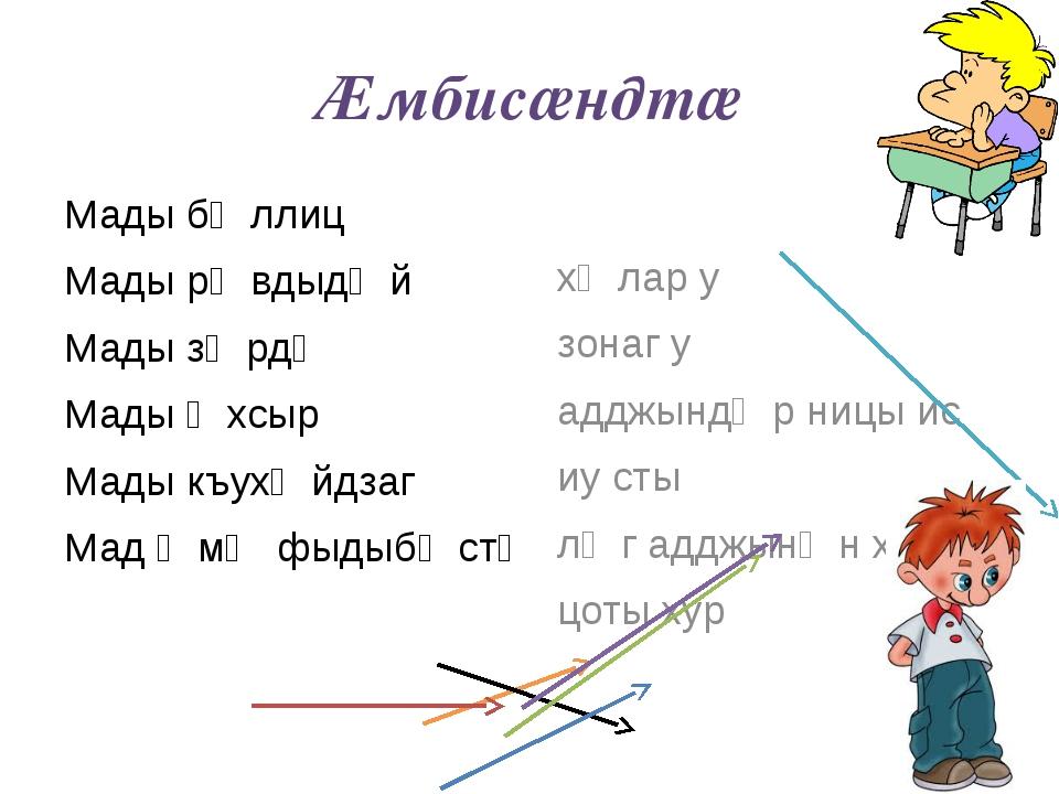 Ӕмбисӕндтӕ Мады бӕллиц Мады рӕвдыдӕй Мады зӕрдӕ Мады ӕхсыр Мады къухӕйдзаг Ма...
