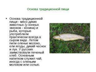 Основа традиционной пищи Основа традиционной пищи - мясо диких животных (у ко