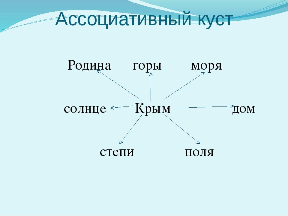 Ассоциативный куст Родина горы моря солнце Крым дом степи поля
