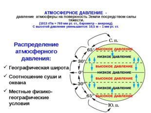 АТМОСФЕРНОЕ ДАВЛЕНИЕ - давление атмосферы на поверхность Земли посредством с