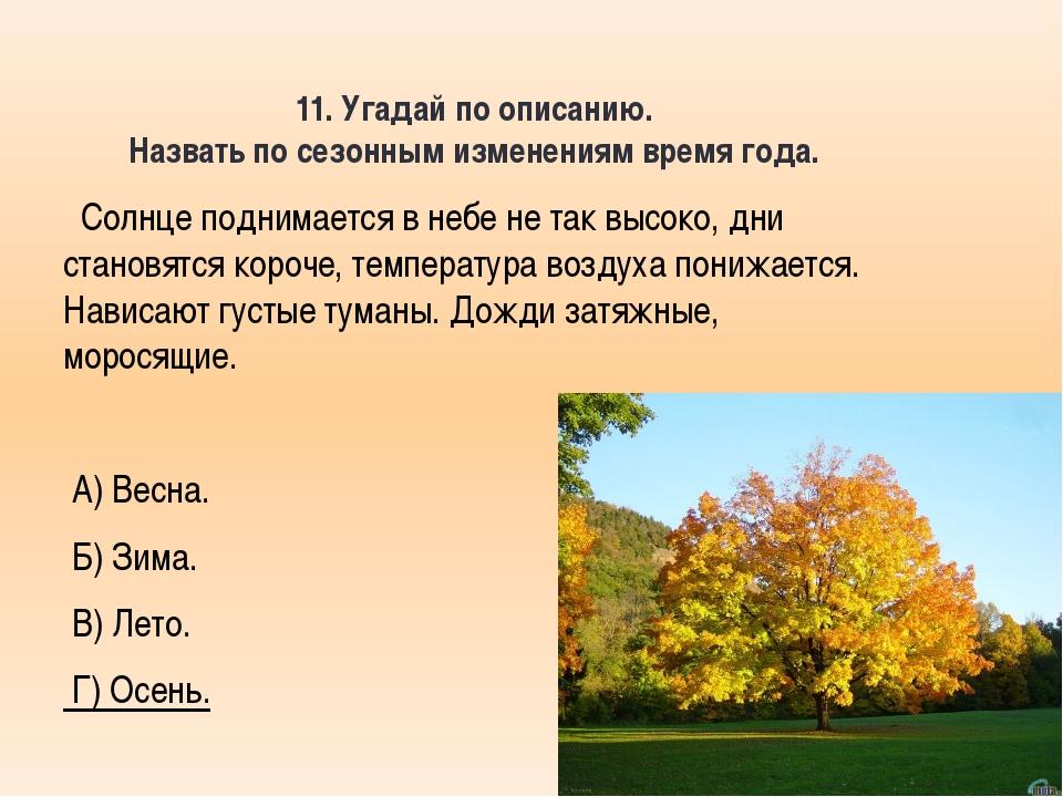 11. Угадай по описанию. Назвать по сезонным изменениям время года. Солнце под...