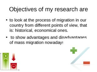 Objectives of my research are to look at the process of migration in our coun