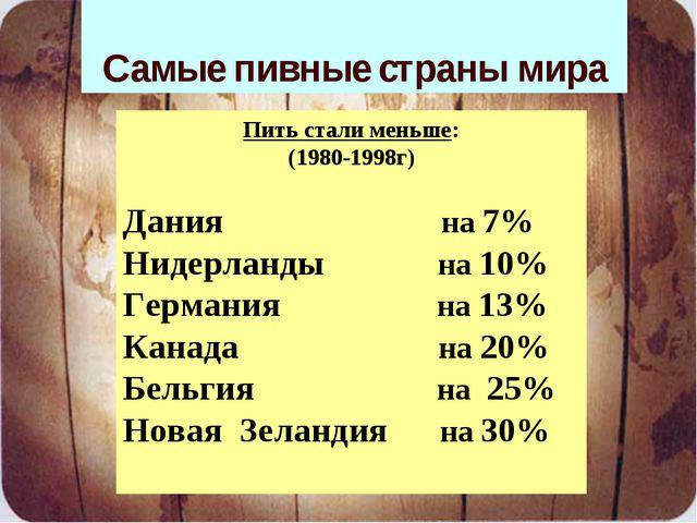 Самые пивные страны мира Потребление алкоголя в виде пива: Чехия - 75% Велико...