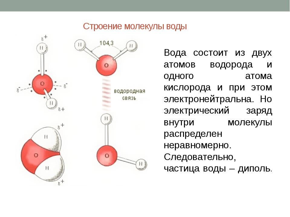 Строение молекулы воды Вода состоит из двух атомов водорода и одного атома ки...