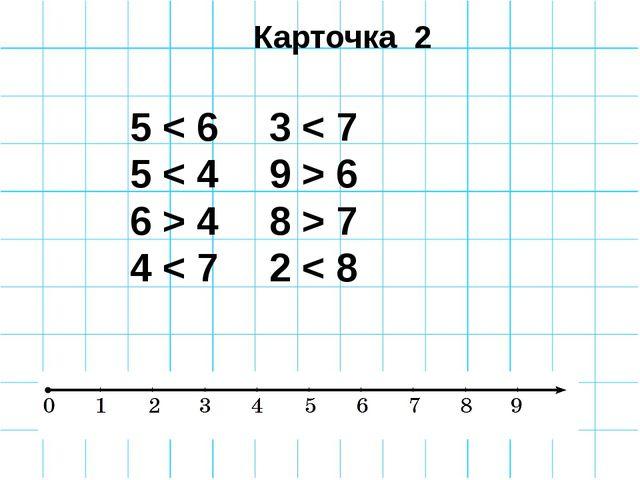 Карточка 2 5 < 6 3 < 7 5 < 4 9 > 6 6 > 4 8 > 7 4 < 7 2 < 8