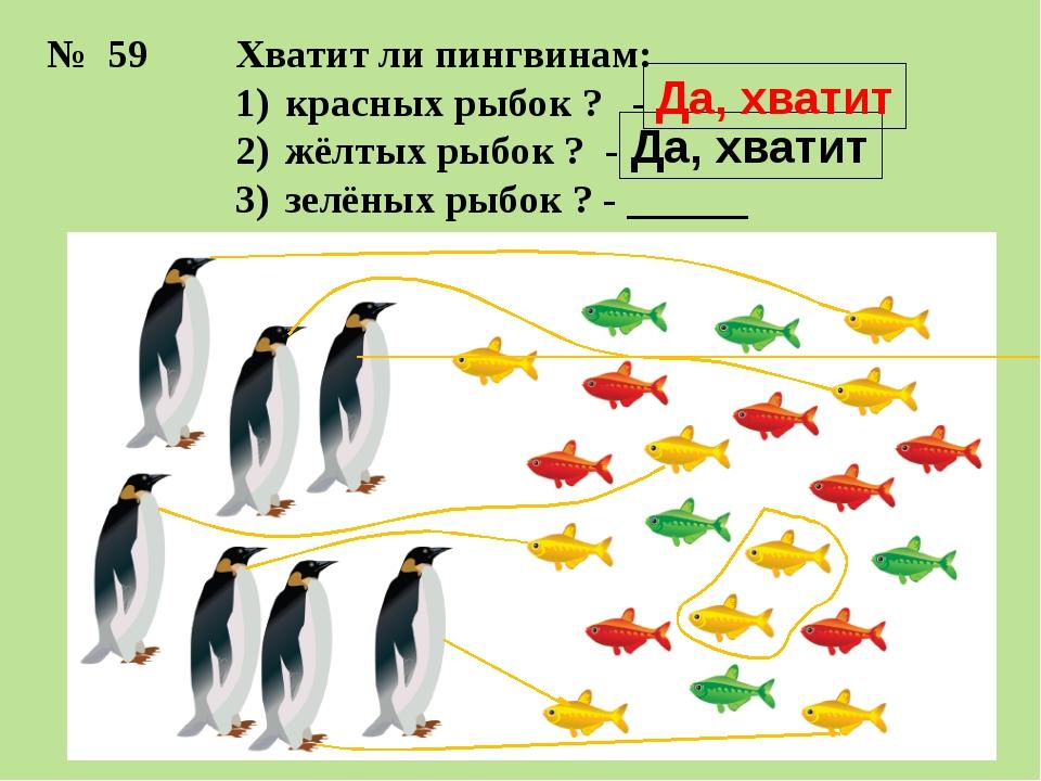 Хватит ли пингвинам: красных рыбок ? - жёлтых рыбок ? - зелёных рыбок ? - ___...