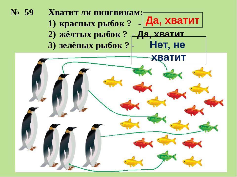 Хватит ли пингвинам: красных рыбок ? - жёлтых рыбок ? - Да, хватит зелёных ры...