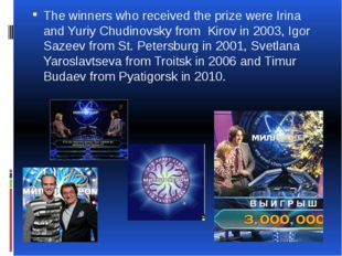 The winners who received the prize were Irina and Yuriy Chudinovsky from Kiro