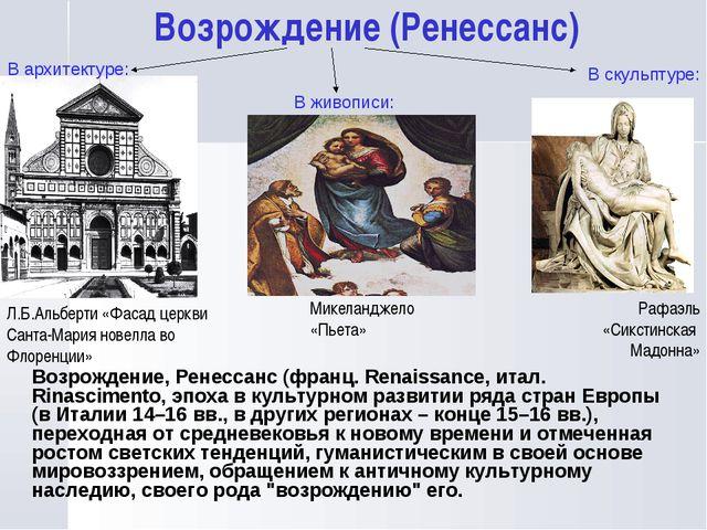 Возрождение (Ренесcанс) Микеланджело «Пьета» Рафаэль «Сикстинская Мадонна» Л....