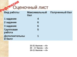Оценочный лист 22-21 баллов – «5» 20 – 17 балла – «4» 16-11 баллов – «3» Рефл