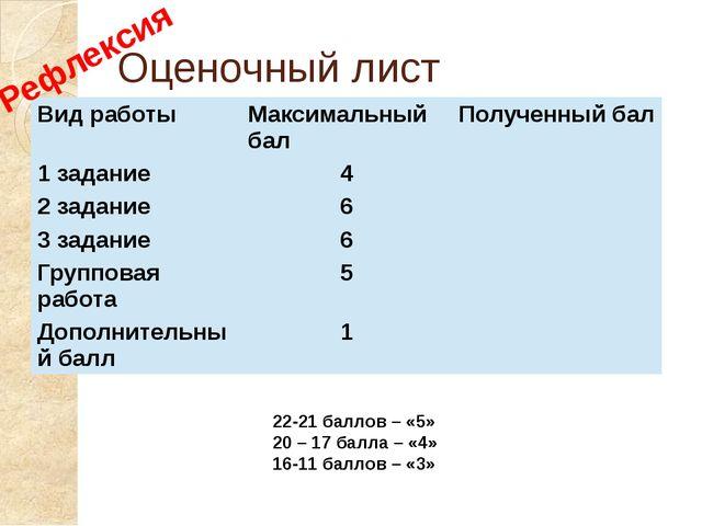 Оценочный лист 22-21 баллов – «5» 20 – 17 балла – «4» 16-11 баллов – «3» Рефл...