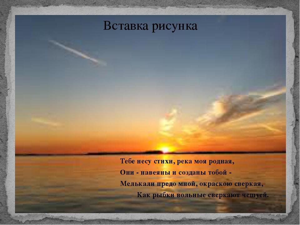 Тебе несу стихи, река моя родная, Они - навеяны и созданы тобой - Мелькали п...