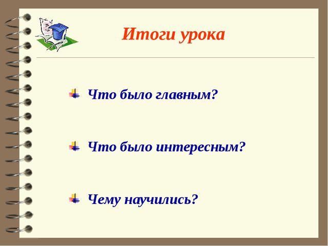 Итоги урока Что было главным? Что было интересным? Чему научились?