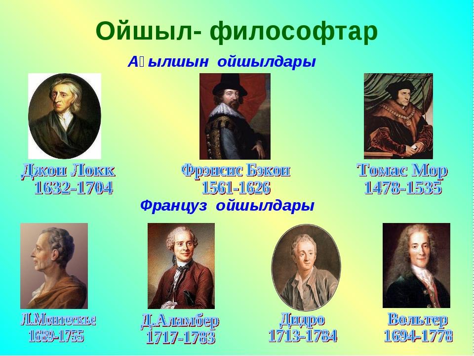 Ойшыл- философтар Ағылшын ойшылдары Француз ойшылдары