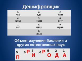 Дешифровщик Объект изучения биологии и других естественных наук 1. АБВ 2. ГДЕ