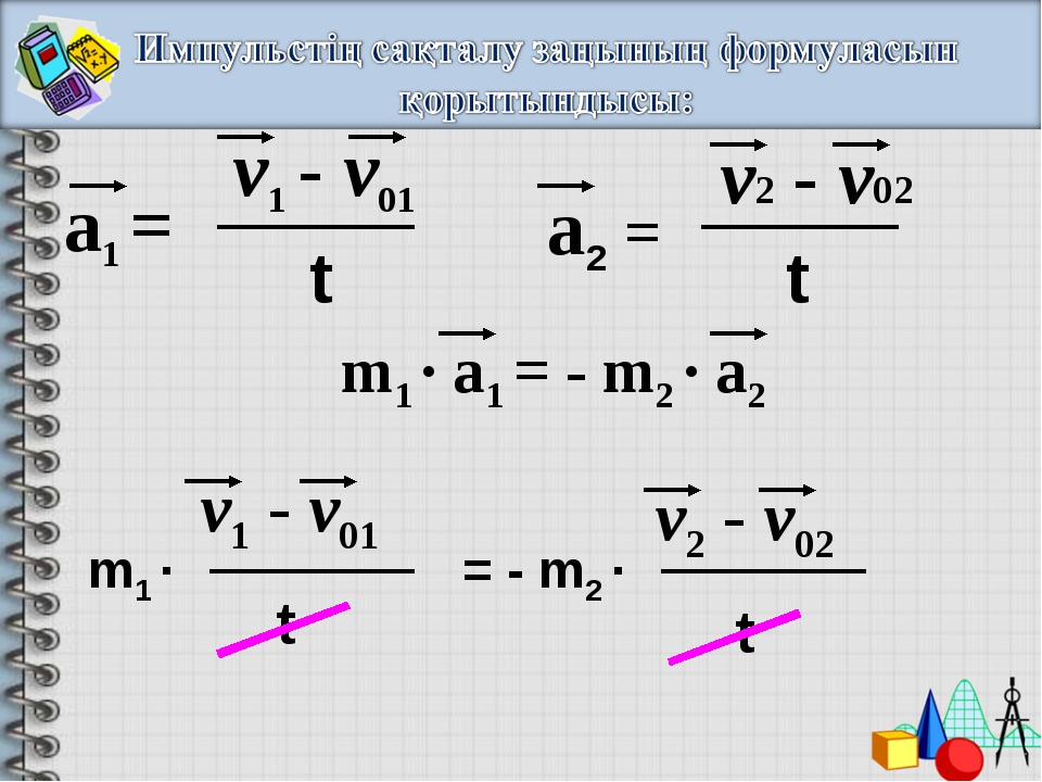 а1 = v1 - v01 t а2 = v2 - v02 t m1 · a1 = - m2 · a2 m1 · = - m2 · v1 - v01 t...