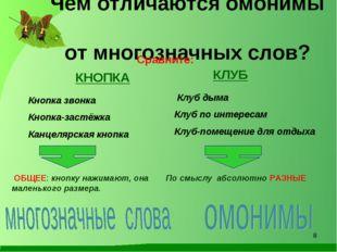 Чем отличаются омонимы от многозначных слов? Сравните: КНОПКА КЛУБ Кнопка зв