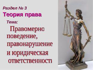 Тема: Раздел № 3 Теория права