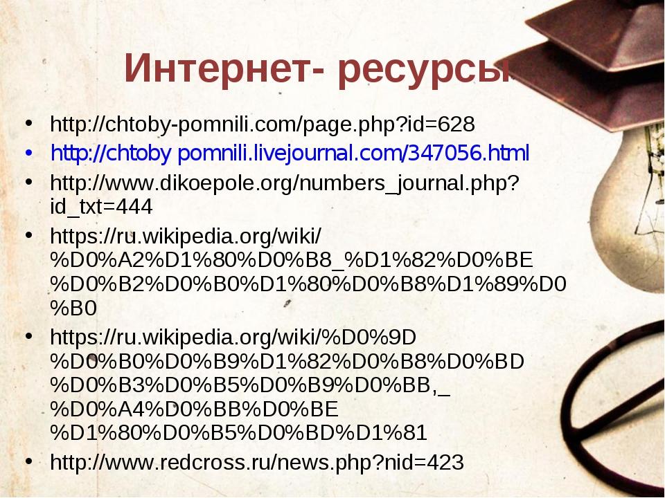 Интернет- ресурсы http://chtoby-pomnili.com/page.php?id=628 http://chtoby pom...