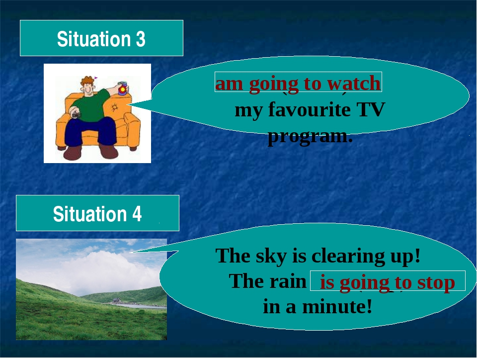 Situation 3 I (watch) my favourite TV program. am going to watch Situation 4...