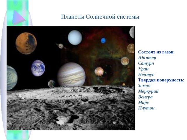 Планеты Солнечной системы Состоят из газов: Юпитер Сатурн Уран Нептун Твердая...