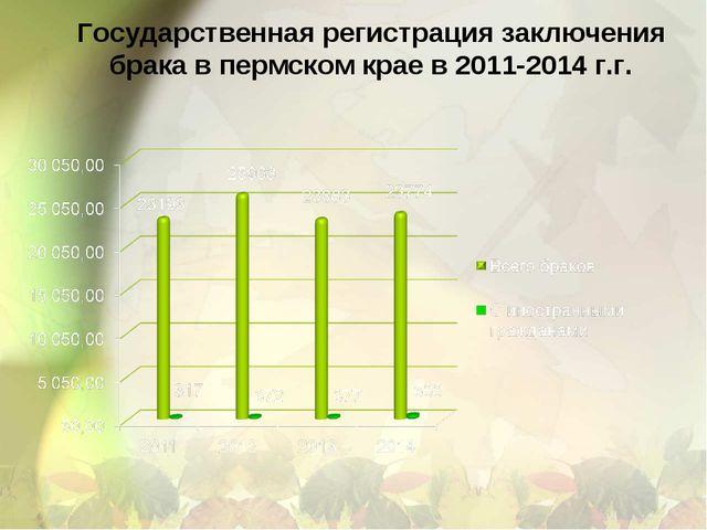 Государственная регистрация заключения брака в пермском крае в 2011-2014 г.г.