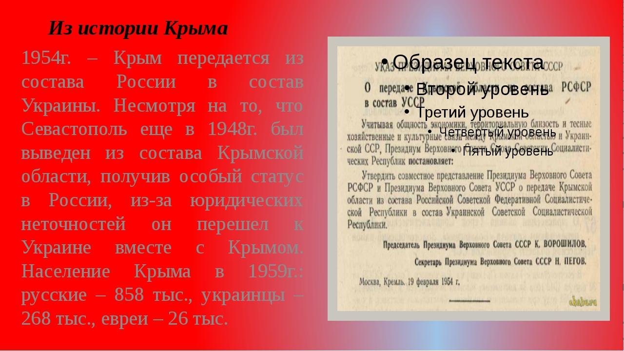 Из истории Крыма 1954г. – Крым передается из состава России в состав Украины....