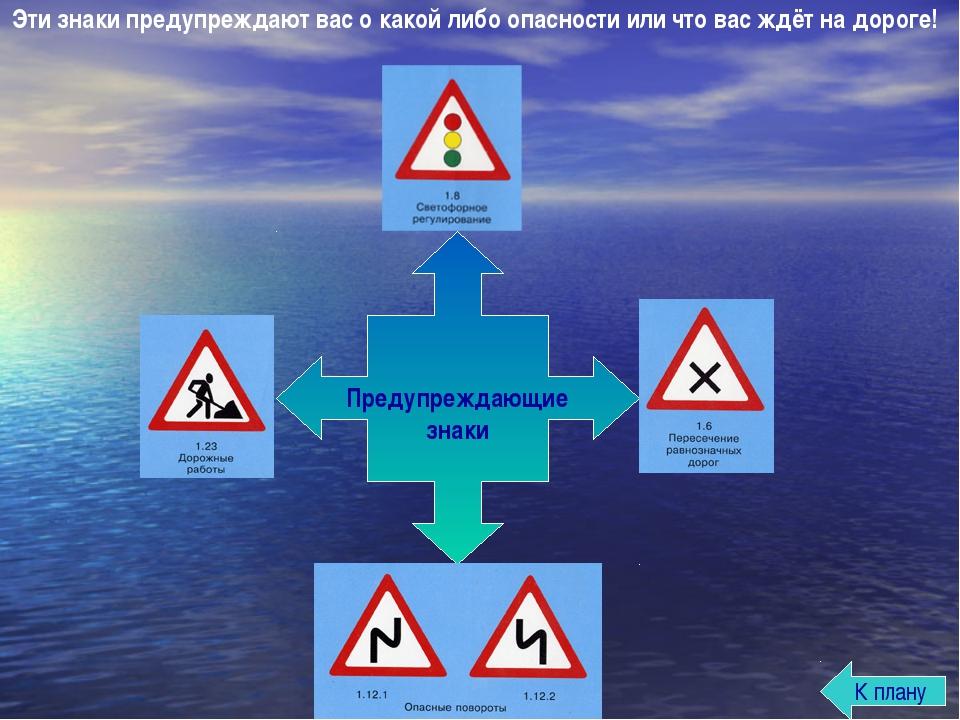 Эти знаки предупреждают вас о какой либо опасности или что вас ждёт на дороге...