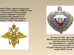 23 августа 1993 года Совет Министров Российской Федерации преобразовал Службу