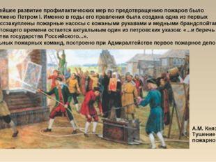 А.М. Князев. Тушение пожарной трубой Дальнейшее развитие профилактических мер