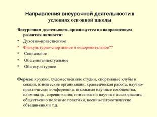Направления внеурочной деятельности в условиях основной школы Внеурочная деят