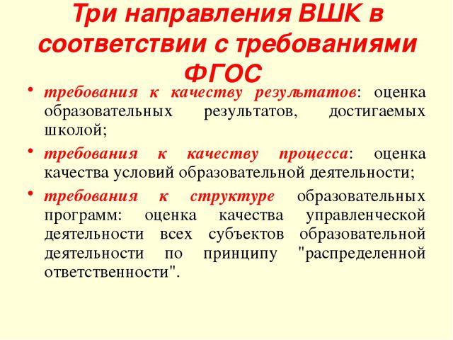 Три направления ВШК в соответствии с требованиями ФГОС требования к качеству...