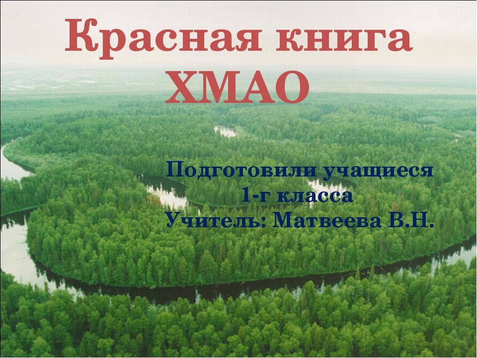 Красная книга ХМАО Подготовили учащиеся 1-г класса Учитель: Матвеева В.Н.