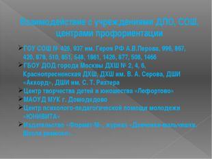 Взаимодействие с учреждениями ДПО, СОШ, центрами профориентации ГОУ СОШ № 426