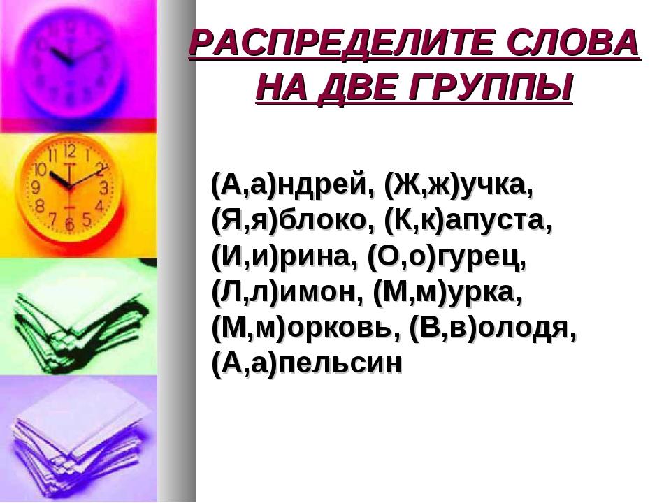 РАСПРЕДЕЛИТЕ СЛОВА НА ДВЕ ГРУППЫ (А,а)ндрей, (Ж,ж)учка, (Я,я)блоко, (К,к)апус...