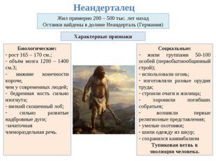 Неандерталец Жил примерно 200 – 500 тыс. лет назад Останки найдены в долине Н