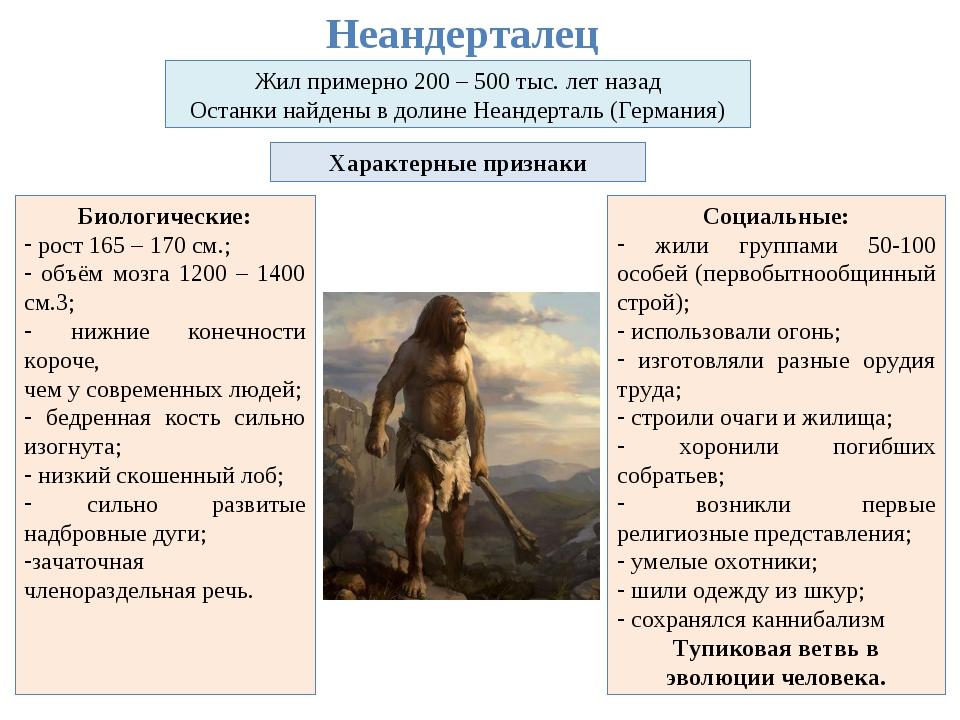 Неандерталец Жил примерно 200 – 500 тыс. лет назад Останки найдены в долине Н...